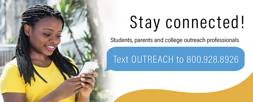 Students staying connected texting Outreach